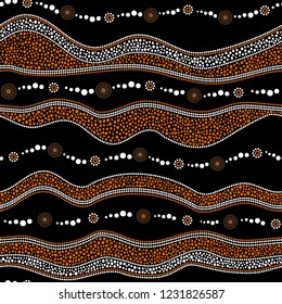 Australian aboriginal seamless vector pattern with white and orange dotted circles, rings, suns and crooked stripes on black background