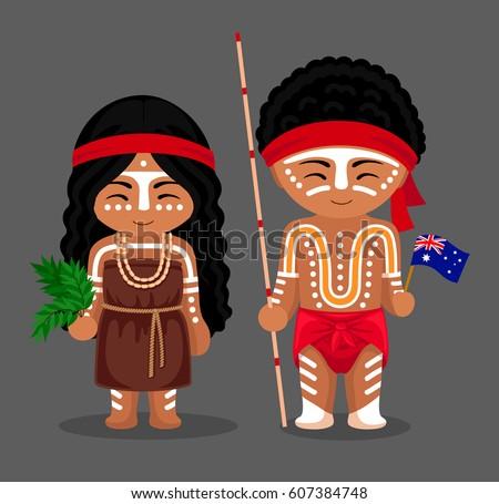 Australian Aborigines National Dress Flag Man Stock Vector ...