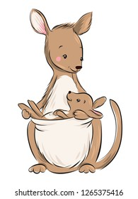 Australian animal. Kangaroo with baby cartoon vector illustration.