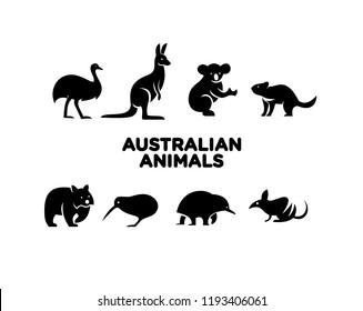australian animal logo icon design vector