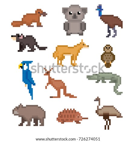 Image of: Esl Australian Animals Icons Set Pixel Art Old School Computer Graphic Style Games Elements Shutterstock Australian Animals Icons Set Pixel Art Stock Vector royalty Free
