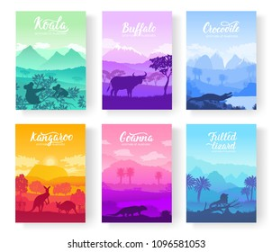Australian animals in the natural habitat on brochure. Colorful flyers with Wildlife in nature. Template of magazines, poster, book cover, banners. Landscape invitation concept
