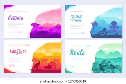 Australian animals in the natural habitat on brochure. Colorful flyers with Wildlife in nature. Template of flyear, web banner, ui header, enter site invitation concept. Layout modern slider