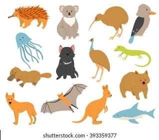 Australian animals set. Cartoon characters. Endemic. Zoo illustration. Wild. Cute zoo. Safari.