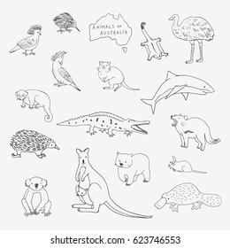 Australian animals set. Cartoon doodle zoo vector illustrations.