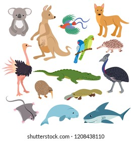 Australian animals vector animalistic character in wildlife Australia kangaroo koala and shark illustration set of cartoon wild wombat platypus and emu isolated on white background
