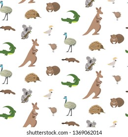 Australian animals vector background. Cute seamless pattern with: kangaroo, koala, kiwis, apteryx, echidna, wombat, emu, cockatoo, platypus, alligator.  Childish background