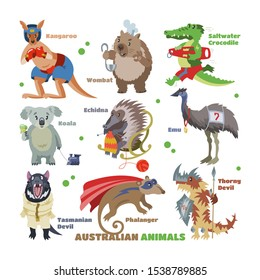 Australian animals vector cartoon animalistic character in wildlife Australia kangaroo sportsman koala crocodile in costume illustration. Set of wild wombat and emu isolated on white background.