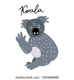 Australian bear Coala vector illustration clipart. Kids design poster. 