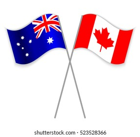 Australian and Canadian crossed flags. Australia combined with Canada isolated on white. Language learning, international business or travel concept.