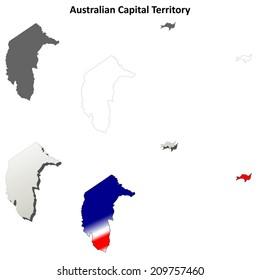 Australian Capital Territory blank detailed outline map set - vector version