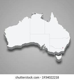 Australian Capital Territory region location within Australia 3d isometric map