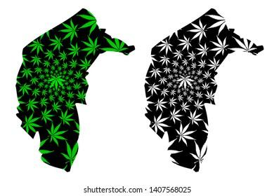 Australian Capital Territory (Australian states and territories, ACT, Federal Capital Territory) map is designed cannabis leaf green and black, Australian Capital Territory map made of marijuana