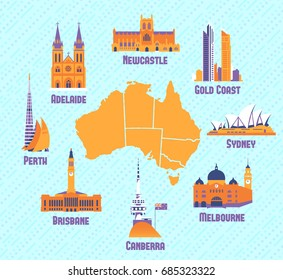 Australian cities. Icons of Melbourne,Brisbane,Canberra,Gold Coast,Newcastle ,Sydney,Perth,Adelaide and australian map. Vector illustration set.