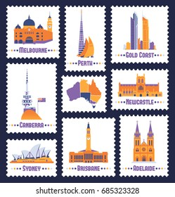Australian cities. Icons of Melbourne,Brisbane,Canberra,Gold Coast,Newcastle ,Sydney,Perth,Adelaide and australian map. Stylization post stamps. Vector illustration set.