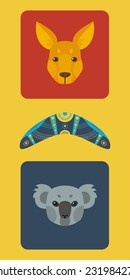 Australian colorful flat set.Vector illustration
