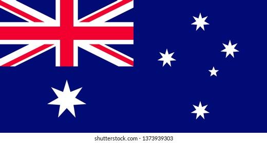 Australian or Commonwealth of Australia official national flag sign flat vector