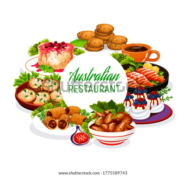 Australian cuisine food, restaurant menu dishes, Australia traditional meals, vector. Australian veal meat, lamb in puff pastry, crumpled rosemary potatoes and rice pudding with Pavlova cakes