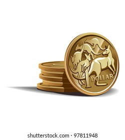 Australian dollar coins vector illustration in color, financial theme ; isolated on background.