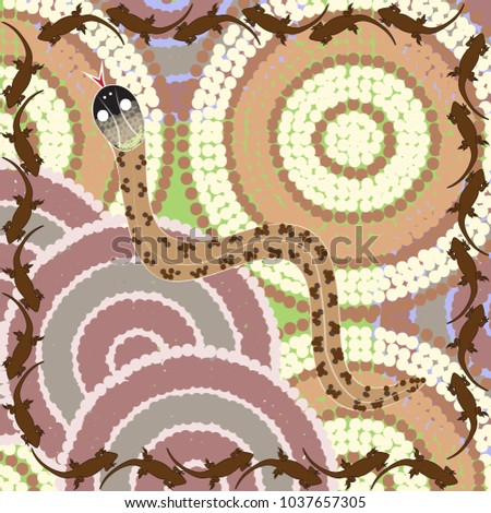 Australian Dot Painting Brown Snake Stock Vector Royalty Free