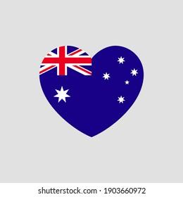 Australian flag in heart shape vector love Australia