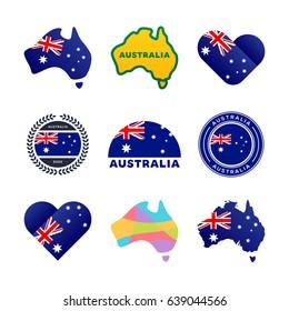 Australian flag, map and other national symbols. I love Australia.