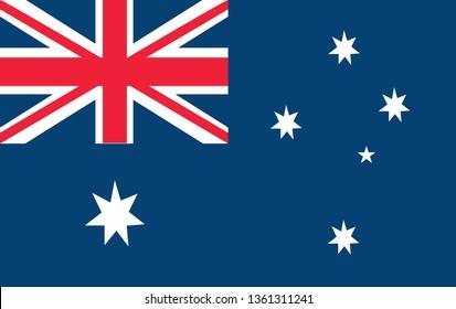 Australian flag vector icon illustration, flat design. Official label. Vector illustration