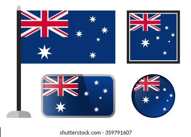 Australian flags. Simple vector icons set of Australian flag.