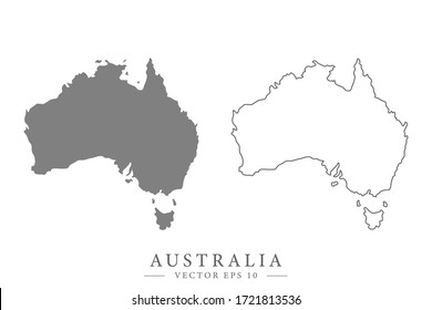 Australian flat or line map. Isolated vector illustration.