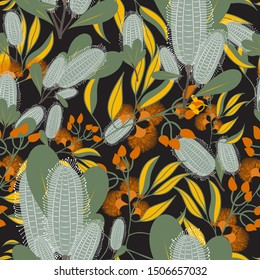 Australian Floral Vector Seamless Pattern.Banksia Repeat Pattern.Perfect for Fabrics,Home Decor Products,Wall Paper, Scarpbooking and packaging