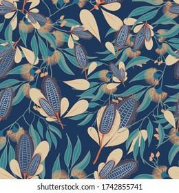 Australian floral vector seamless repeat pattern.Banksia Native Austraian flower perfect on fabrics and textiles ,wall paper and packaging