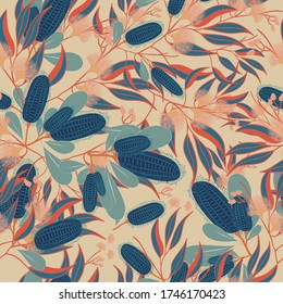 Australian floral vector seamless repeat pattern.Banksia Native Austraian flower perfect on fabrics and textiles ,wall paers or ad packaging