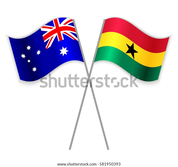 Australian and Ghanaian crossed flags. Australia combined with Ghana isolated on white. Language learning, international business or travel concept.