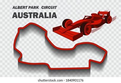 Australian grand prix race track for Formula 1 or F1.  Detailed racetrack or national circuit for motorsport and formula1 qualification. Vector illustration.