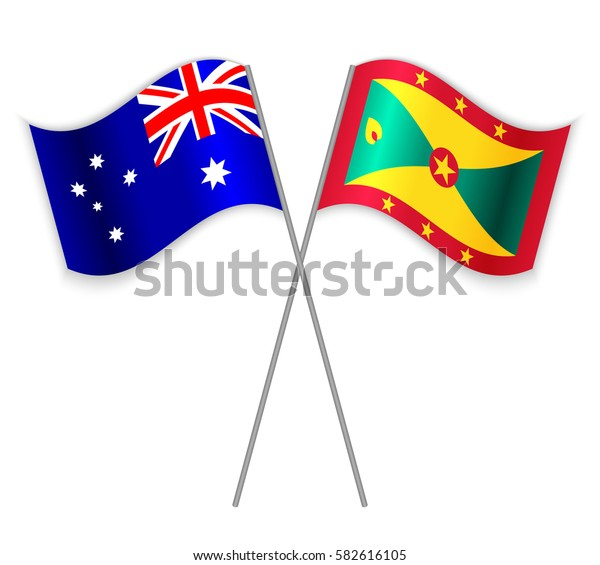 Australian and Grenadian crossed flags. Australia combined with Grenada isolated on white. Language learning, international business or travel concept.