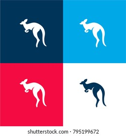 Australian kangaroo four color material and minimal icon logo set in red and blue