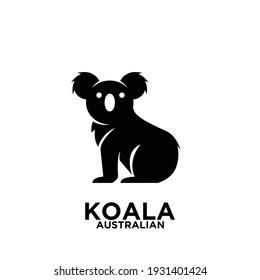 Australian Koala simple black silhouette logo vector icon illustration design isolated background