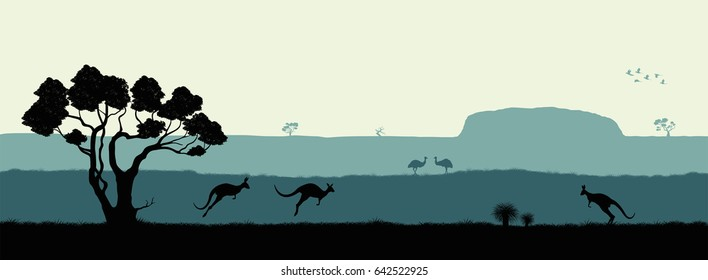 Australian landscape. Black silhouette of trees, kangaroo and ostrich on white background. The nature of Australia. Isolated vector graphic