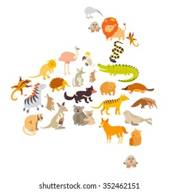 Australian mammal map silhouettes.Australia map with animals.Australia vector.Isolated on white background illustration.Colorful cartoon illustration for children,kids.Preschool, education, travelling
