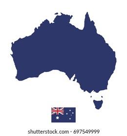 Australian map and flag. Flat vector illustration EPS 10
