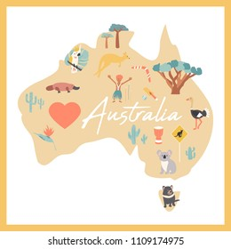Australian map with landmarks and wildlife. Travel greeting card with kangaroo, platypus, koala, ostrich, aboroginal, parrot, tasmanian devil.