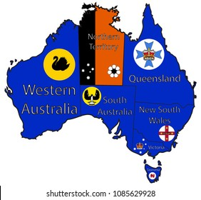 An Australian map outlining the territories and flags isolated on a white background