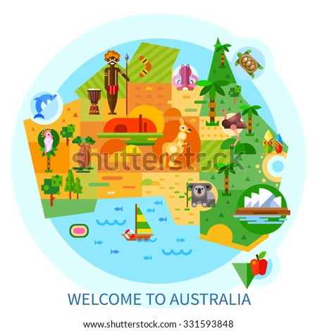 Australian National Symbols Animals Koala Kangaroo Stock Vector