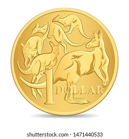 Australian one dollar coin isolated white background in vector illustration