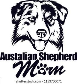 Australian Shepherd Dog Breed Love Peeking Pet Puppy Mom Design Element Ribbon Isolated Head Face