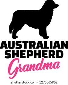Australian Shepherd Grandma silhouette black