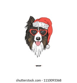Australian Shepherd Santa portrait, dog illustration