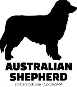 Australian Shepherd silhouette black with name