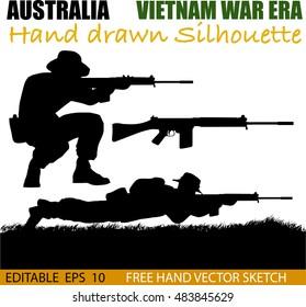 Australian soldier silhouettes from the Vietnam war era.