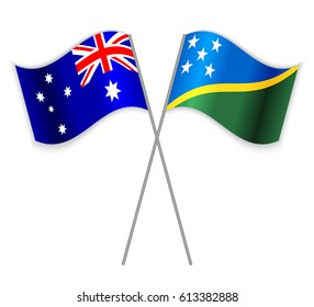 Australian and Solomon Island crossed flags. Australia combined with Solomon Islands isolated on white. Language learning, international business or travel concept.